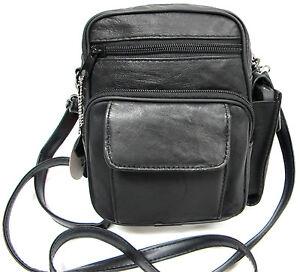 6 Pocket Soft Lambskin Leather Cross Body or Shoulder Bag Light Weight - Black