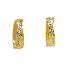 14K Yellow Gold Cubic Zirconia Huggie Earrings