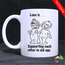 Love Is¡Supporting Each Other In Old Age Funny Illustration Ceramics Coffee Mug