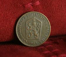 1965 Czechoslovakia 50 Haleru World Coin KM55.1 Czech Lion Shield Linden wreath