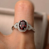 1.65 Ct Oval Cut Garnet Engagement Ring 14K Solid White Gold Diamond Size O P