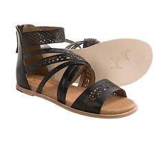 NIB Gee WaWa Ella in Black Leather Strappy Ankle Gladiator Sandals 7 $145