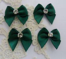 """7/8""""(W) Forest Green Satin Mini Ribbon Bows w/Rhinestone-30 pcs-R0063Fg"""