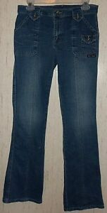 WOMENS / JUNIORS DKNY STRETCH DISTRESSED FLARE BLUE JEANS  SIZE 7 REGULAR