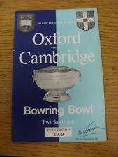 Programma di rugby 11/12/1979: Università di Oxford V Cambridge University [a T