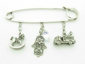 PLATINUM PLATED UNIQUE CRYSTAL BABY PIN FOR STROLLER CARRIAGE EVIL EYE KABBALAH