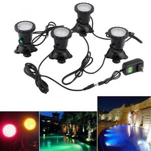 4pcs 12V Underwater Garden Fountain Fish Tank Pool Pond 36 LED Decor Spot Light
