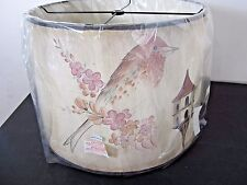 Drum Lampshade Painted Birds Birdhouses Unique Farmhouse Country Style New