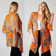 Boho Orange Paisley Hippie Kimono Sheer Chiffon Duster Jacket Top FITS L/1X