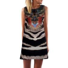 Boho Summer Women Sleeveless Dress Retro Print O-Neck A-Line Short Mini Dresses