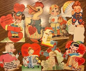 Vintage Valentine Card Lot of 10 Mechanical Die Cut Honeycomb Duck Pig Jack Box
