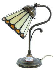 Lampada ottone brunito lampade da tavoli,scrivanie con vetro stile tiffany lmi3