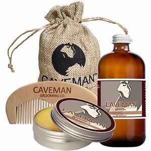 Hand Crafted Caveman® Beard Oil Conditioner + Beard Balm + Handmade Comb Bay Rum