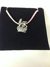 ROYAL ARMS CROWN REFRACP   Pewter PENDENT ON A PINK CORD Necklace Handmade