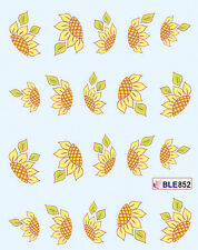 YELLOW SUN FLOWERS Water Transfers Nail Art Sticker Decals UV Tips Decoration