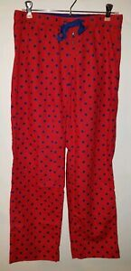 Womens Aerie Red Flannel Pajama Pants With Navy Polka Dots -- Gently Worn