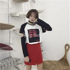 printing hollow long sleeves T-shirt 2017 summer new Korean women's clothing