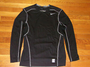 NIKE PRO COMBAT DRI-FIT LONG SLEEVE BLACK/GRAY FITTED JERSEY MENS SMALL EXCELLEN