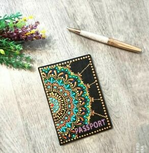 Hand painted passport cover from faux leather Mandala