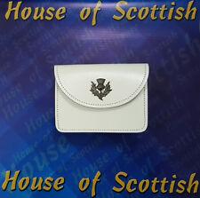 Brand New Real Leather Scottish White Plain kilt Belt Pouch / Bagpiper/Drummer