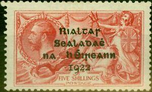 Ireland 1922 5s Rose-Carmine SG19 Fine Lightly Mtd Mint