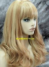 Human Hair Blend Loose Wavy W Bangs Blonde Mix Full Wig Heat Ok Hair piece NEW