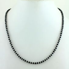 NECKLACE NATURAL BLACK ONYX FACETED BEADED GEMSTONE 925 STERLING SILVER 12 GRAMS