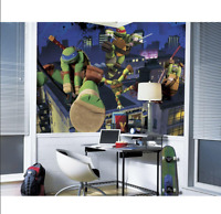 RoomMates Teenage Mutant Ninja Turtles Cityscape Chair Rail Prepasted Mural 6...