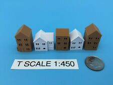 T Gauge HOUSES 5 Pc SET in COLOR ~ HOLLOW ~ T Scale 1:450 ~ 1:480 ~ NO ASSEMBLY!