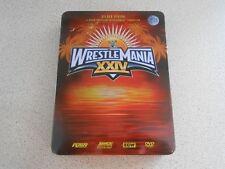 WWE - Wrestlemania XXIV 24 ( DVD, 2008, 3-Disc Set ) ** COLLECTORS STEEL TIN