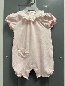Kissy Kissy Premier Polka Dot Pink Romper Flower Embroidered Size 6-9 Months