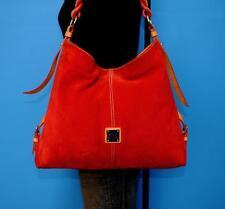 DOONEY & BOURKE Red Suede Leather Hobo Shoulder Carryall Satchel Purse Tote Bag