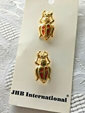 Two Gold Metal Insect Beetle JHB Buttons New on Card Made in Italy Red Enamel