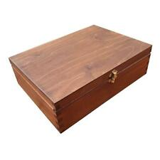 Wooden Box for Paper A4 Size,10 cm Height Whit Lid Lockable Latch in Brown Color