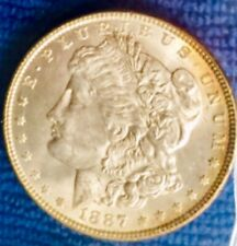 LOT 1 CHOICE+BU STACKS 1887 FROM MORGAN SILVER DOLLAR UNC ROLL '94 AUCTION TONED