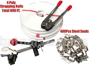 Strapping Tool Kit Poly 690 Feet Strap 400 Steel Seals + Tools Roll Supply Set