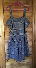 CHECK PINAFORE DRESS SIZE 20 BY F&F TIE WAIST STRETCH