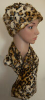 Brown Black Leopard Animal Print Russian Style Faux Fur Hat Neck Warmer Collar