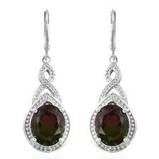 Watermelon Quartz Lever Back Earrings in Platinum Over Sterling Silver