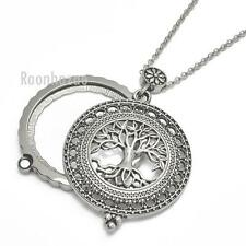 "New Silver 5X Magnifying Glass Tree of Life Pendant 31"" Chain Necklace SJ045S"