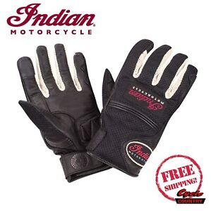 GENUINE INDIAN MOTORCYCLE MEN'S MESH DRIFTER RIDING GLOVES BLACK LEATHER PALM