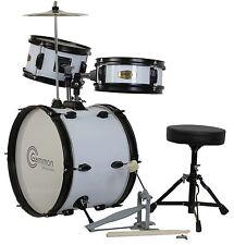 New White Drum Set Junior Children's Complete Child Kids Kit with Stool Sticks