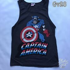 "Mens Marvel ""Captain America"" Black Size S Vest Top P-P18"" Length 27"""