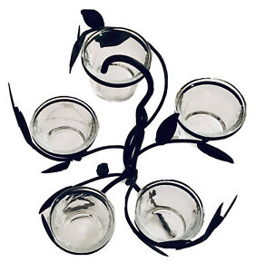 YANKEE CANDLE TREE 5 CLEAR GLASS VOTIVE HOLDERS -CANDLES NOT INCLUDED