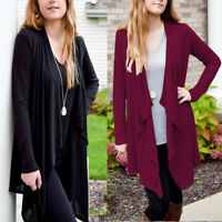 Fashion Women Long Sleeve Open Front Cardigan Loose Cotton Blend Outwear Top USA