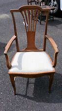 Antique-Quarter sawn-Oak-Wood-Arm-Chair-F abric-Seat Antique