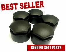 GENUINE SEAT WHEEL NUT CAP / COVERS (BLACK) 4X NORMAL & 1X LOCKING (1 WHEEL SET)