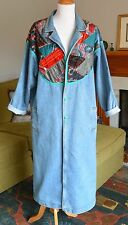 Womens VTG 80s Hand Quilted Denim Trench Coat Long Jean Jacket BOHO Patchwork XL