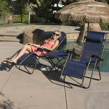 Navy 3 pc Zero Gravity Folding Lounge Patio Chairs with Folding Table Cup Holder