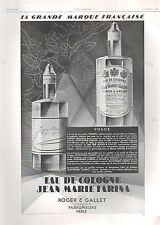 ▬► PUBLICITE ADVERTISING AD PARFUM PERFUME Jean Marie Farina Roger Et Gallet